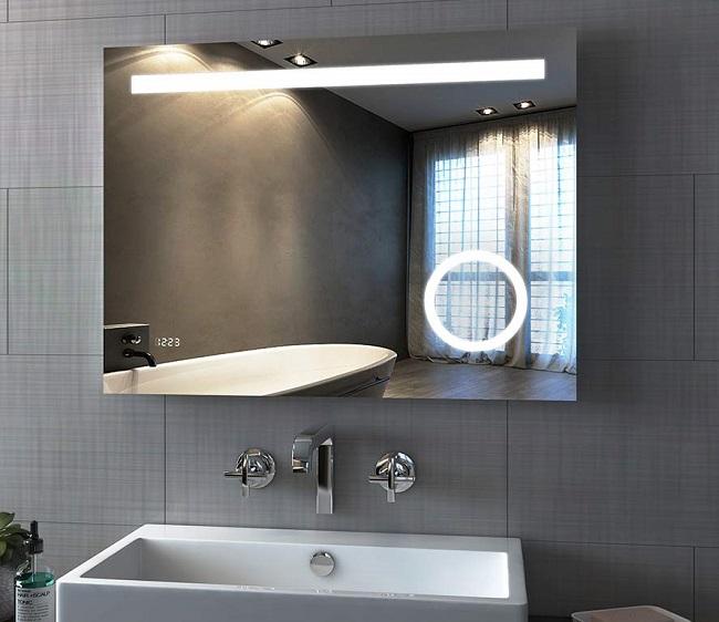 Зеркало для ванной с часами