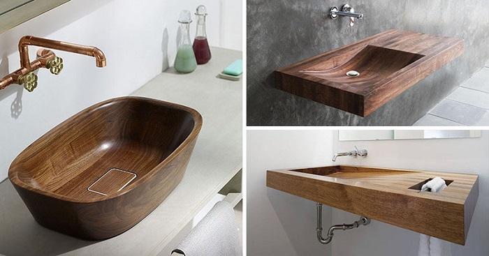 Раковина для ванной из дерева