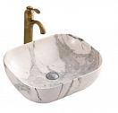 Раковина CeramaLux Stone Edition K397G125 50 см серый/белый, с донным клапаном