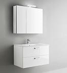 Мебель для ванной Arbi Petit 100 с зеркальным шкафом белый глянцевый