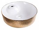 Раковина CeramaLux LuxeLine D1306H025 45 см белый/золотой
