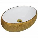 Раковина CeramaLux Color Edition Nc433 48 см белый/золотой